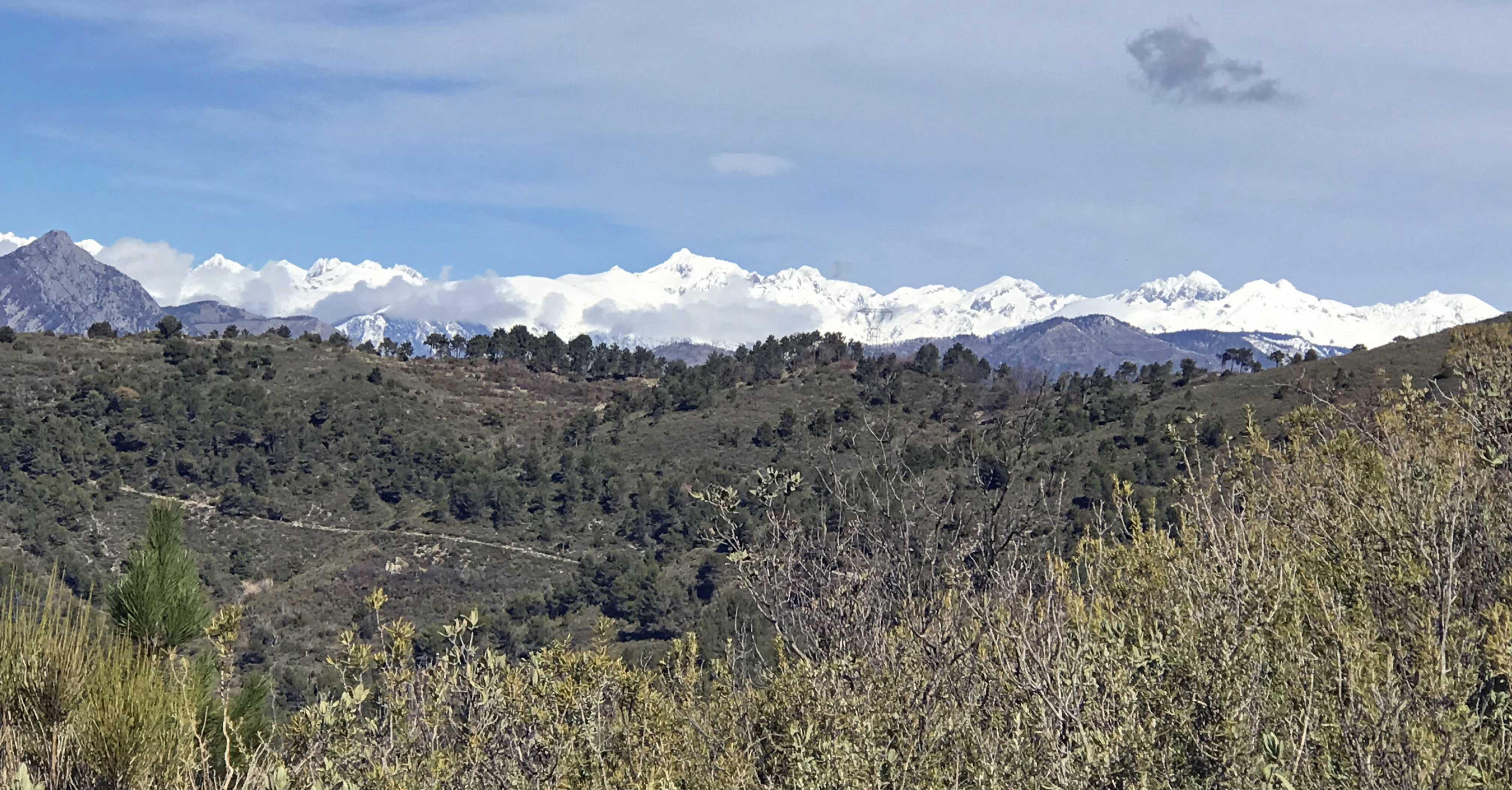 La cime du Gélas au loin. Vue surprenante du Mt Macaron en mars 2018